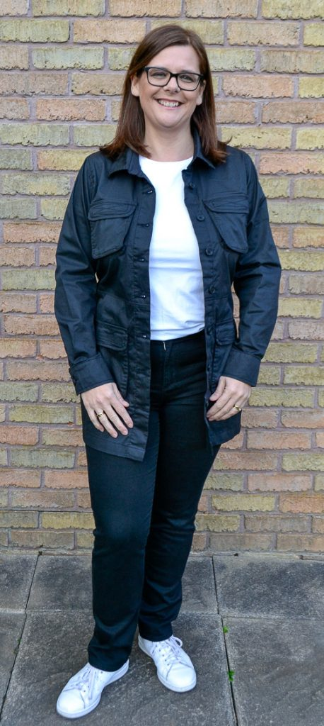 Black Utility Tie Waist Shirt Dress Jacket
