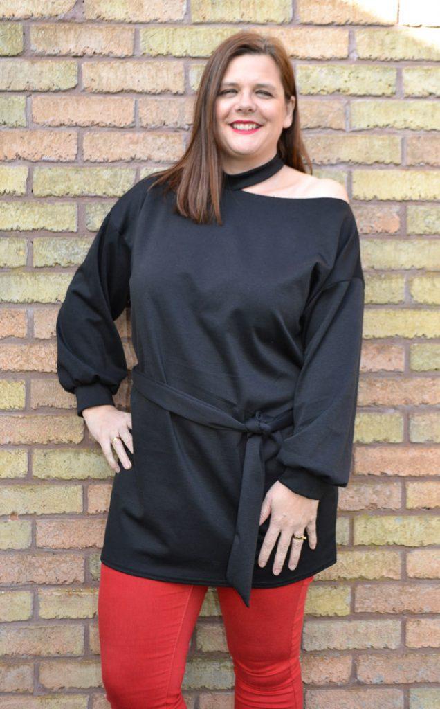 Black Cold Shoulder Cut Out Jersey Dress