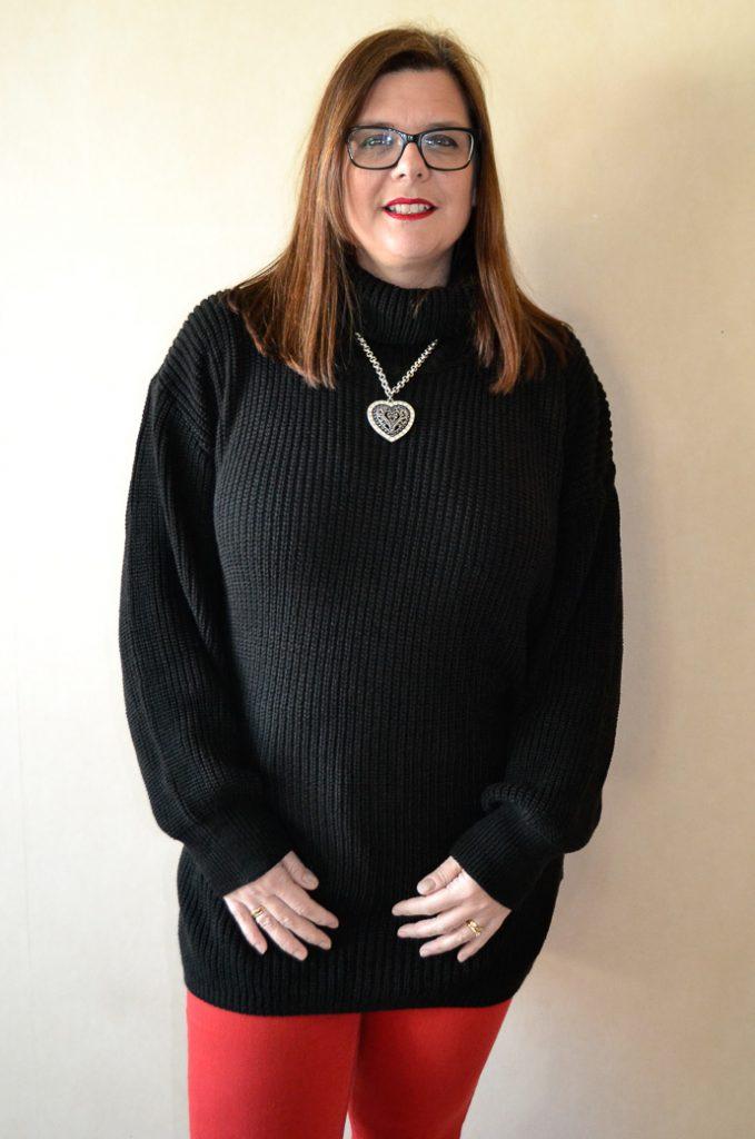 Black Knitted Turtleneck Mini Jumper Dress