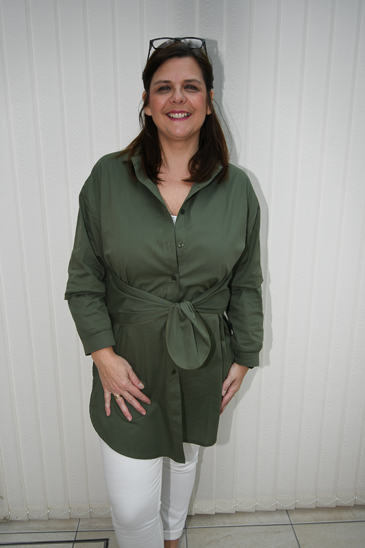 Khaki Thigh Split Shirt Dress