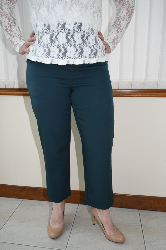 Teal Belted Tapered Trousers