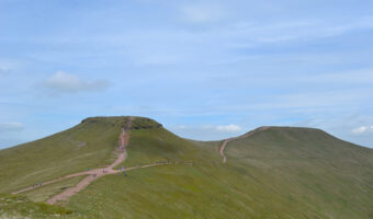 The summits of Corn Du (left) and Pen y Fan (right)